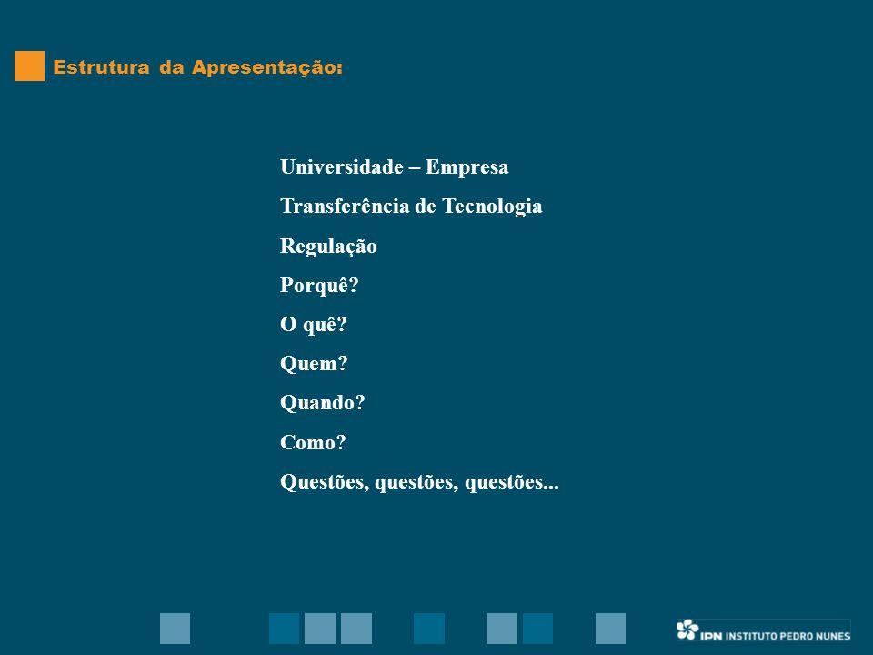 Universidade – Empresa Transferência de Tecnologia Regulação Porquê.