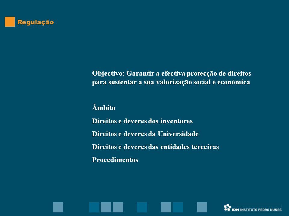 Objectivo: Garantir a efectiva protecção de direitos para sustentar a sua valorização social e económica Âmbito Direitos e deveres dos inventores Direitos e deveres da Universidade Direitos e deveres das entidades terceiras Procedimentos Regulação