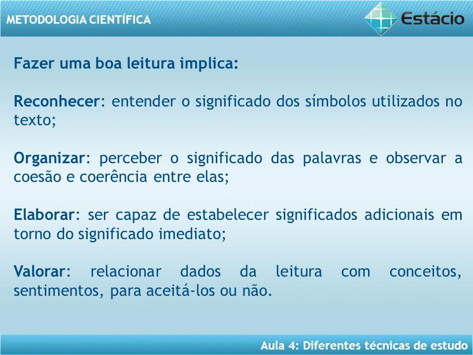 Aula 4: Diferentes técnicas de estudo METODOLOGIA CIENTÍFICA Fazer uma boa leitura implica: Reconhecer: entender o significado dos símbolos utilizados