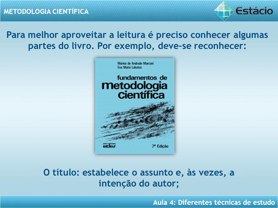 Aula 4: Diferentes técnicas de estudo METODOLOGIA CIENTÍFICA Para melhor aproveitar a leitura é preciso conhecer algumas partes do livro. Por exemplo,