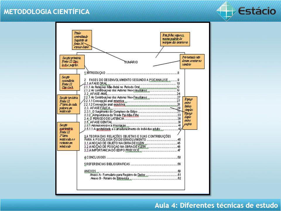 Aula 4: Diferentes técnicas de estudo METODOLOGIA CIENTÍFICA
