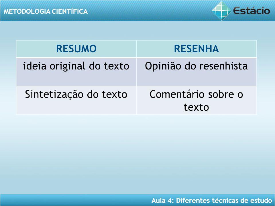 Aula 4: Diferentes técnicas de estudo METODOLOGIA CIENTÍFICA RESUMORESENHA ideia original do textoOpinião do resenhista Sintetização do textoComentári