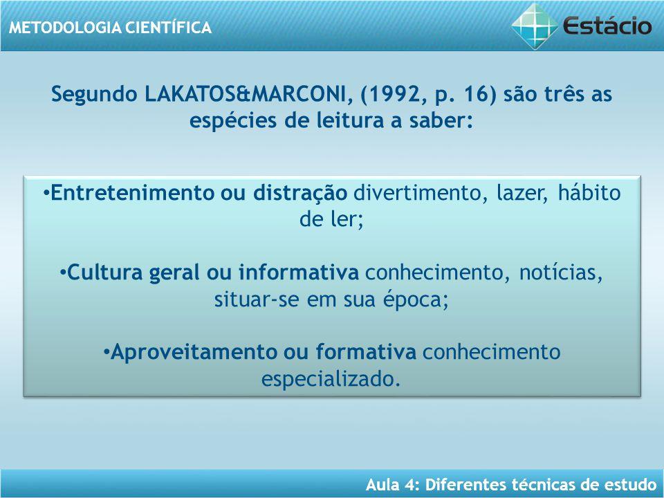 Aula 4: Diferentes técnicas de estudo METODOLOGIA CIENTÍFICA Segundo LAKATOS&MARCONI, (1992, p. 16) são três as espécies de leitura a saber: Entreteni