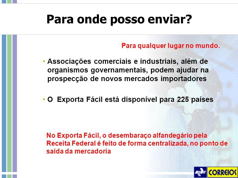 No Exporta Fácil, o desembaraço alfandegário pela Receita Federal é feito de forma centralizada, no ponto de saída da mercadoria Para onde posso enviar.