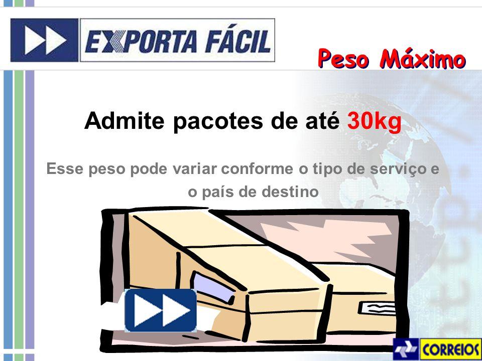 Peso Máximo Admite pacotes de até 30kg Esse peso pode variar conforme o tipo de serviço e o país de destino