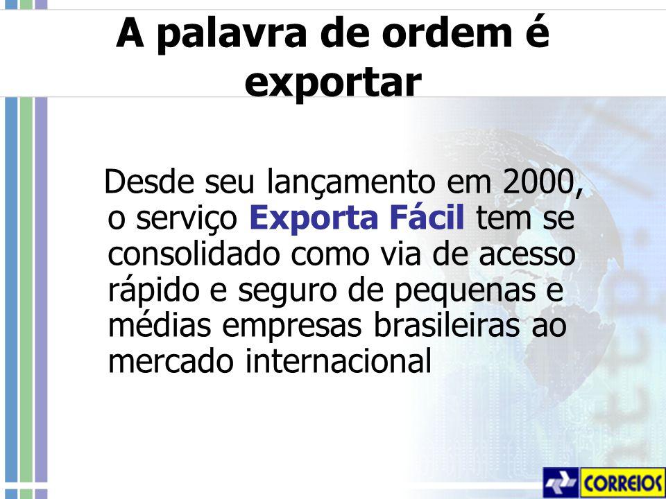 A palavra de ordem é exportar Desde seu lançamento em 2000, o serviço Exporta Fácil tem se consolidado como via de acesso rápido e seguro de pequenas e médias empresas brasileiras ao mercado internacional