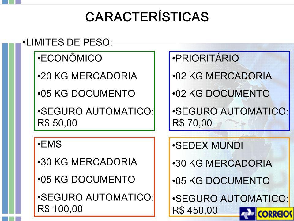 CARACTERÍSTICAS LIMITES DE PESO: PRIORITÁRIO 02 KG MERCADORIA 02 KG DOCUMENTO SEGURO AUTOMATICO: R$ 70,00 EMS 30 KG MERCADORIA 05 KG DOCUMENTO SEGURO AUTOMATICO: R$ 100,00 SEDEX MUNDI 30 KG MERCADORIA 05 KG DOCUMENTO SEGURO AUTOMATICO: R$ 450,00 ECONÔMICO 20 KG MERCADORIA 05 KG DOCUMENTO SEGURO AUTOMATICO: R$ 50,00