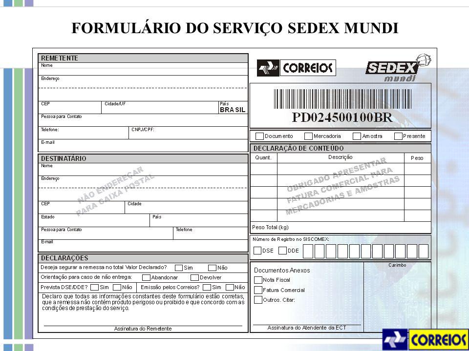 FORMULÁRIO DO SERVIÇO SEDEX MUNDI