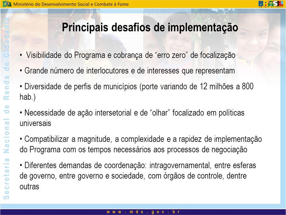 """Principais desafios de implementação Visibilidade do Programa e cobrança de """"erro zero"""" de focalização Grande número de interlocutores e de interesses"""