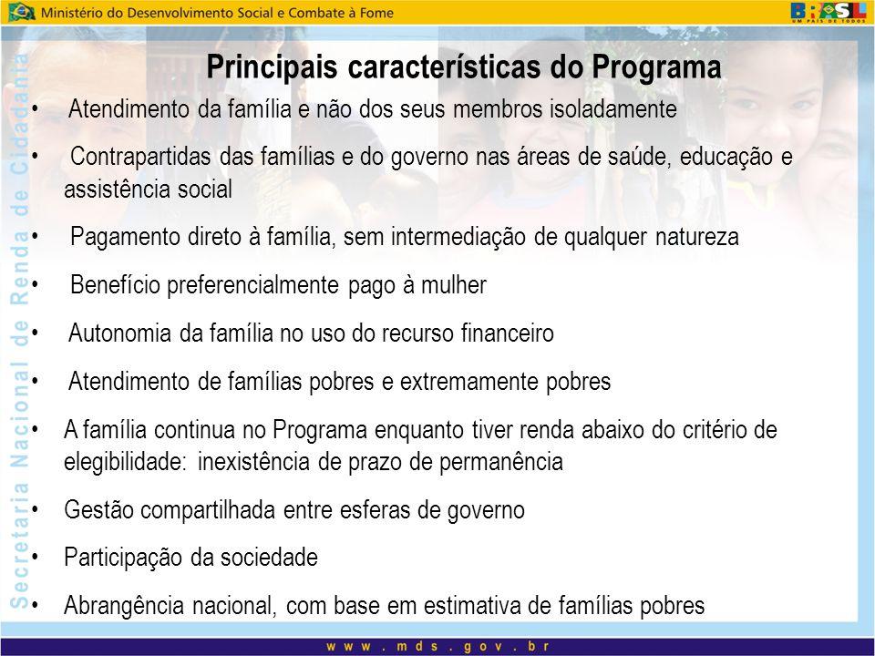 Principais características do Programa Atendimento da família e não dos seus membros isoladamente Contrapartidas das famílias e do governo nas áreas d