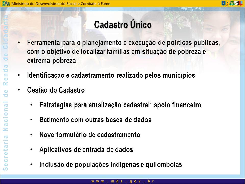 Cadastro Único Ferramenta para o planejamento e execução de políticas públicas, com o objetivo de localizar famílias em situação de pobreza e extrema