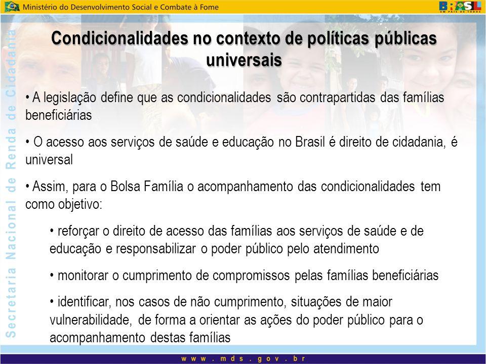 Condicionalidades no contexto de políticas públicas universais A legislação define que as condicionalidades são contrapartidas das famílias beneficiár