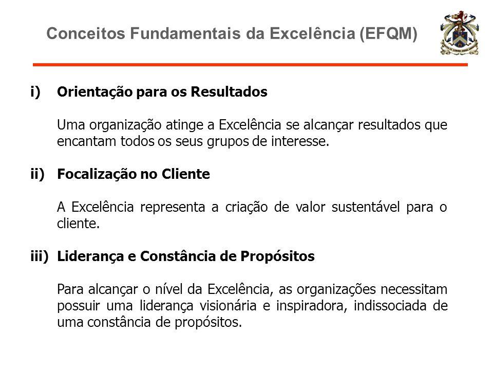i)Orientação para os Resultados Uma organização atinge a Excelência se alcançar resultados que encantam todos os seus grupos de interesse. ii)Focaliza