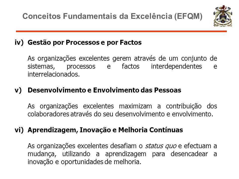 iv)Gestão por Processos e por Factos As organizações excelentes gerem através de um conjunto de sistemas, processos e factos interdependentes e interr