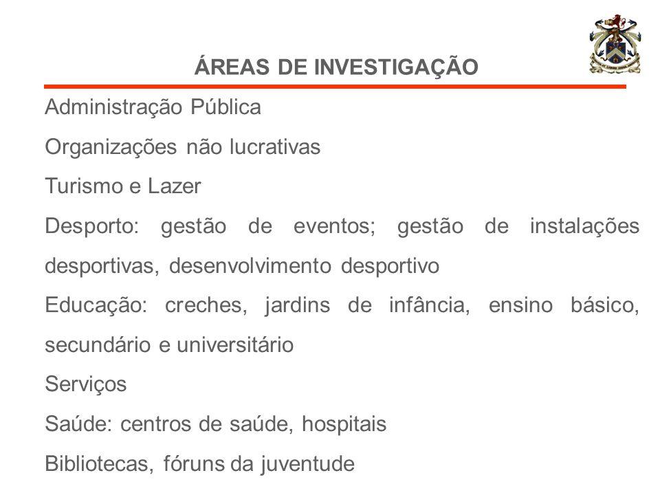 ÁREAS DE INVESTIGAÇÃO Administração Pública Organizações não lucrativas Turismo e Lazer Desporto: gestão de eventos; gestão de instalações desportivas