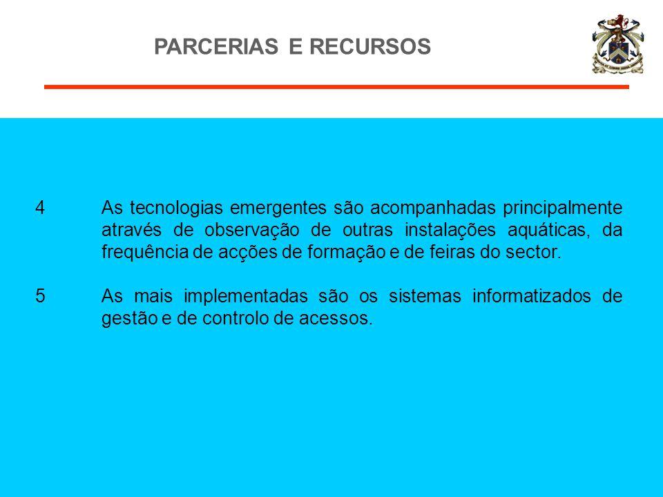 PARCERIAS E RECURSOS 4As tecnologias emergentes são acompanhadas principalmente através de observação de outras instalações aquáticas, da frequência d