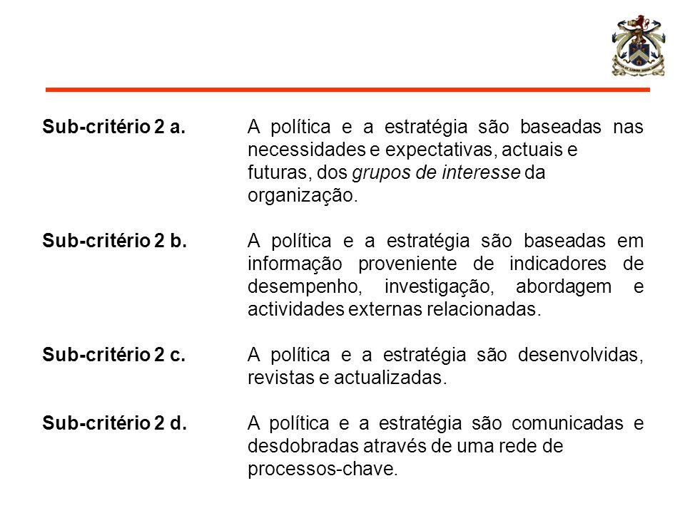 Sub-critério 2 a. A política e a estratégia são baseadas nas necessidades e expectativas, actuais e futuras, dos grupos de interesse da organização. S