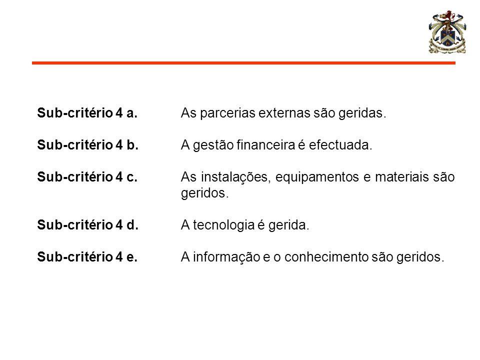 Sub-critério 4 a. As parcerias externas são geridas. Sub-critério 4 b. A gestão financeira é efectuada. Sub-critério 4 c. As instalações, equipamentos