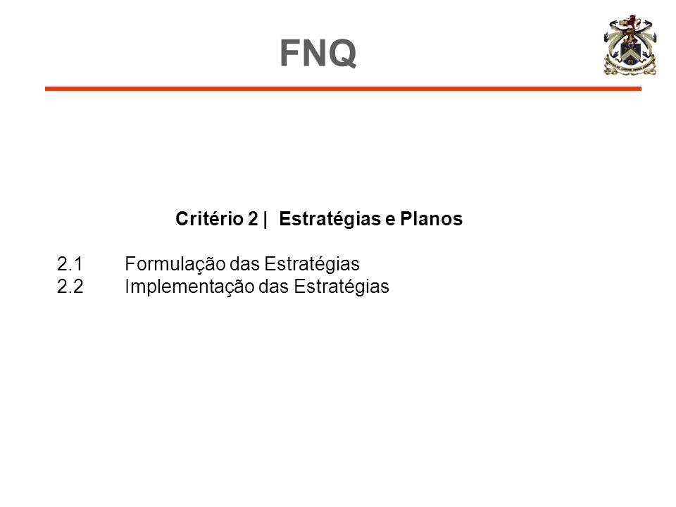 Critério 2 | Estratégias e Planos 2.1Formulação das Estratégias 2.2Implementação das Estratégias FNQ