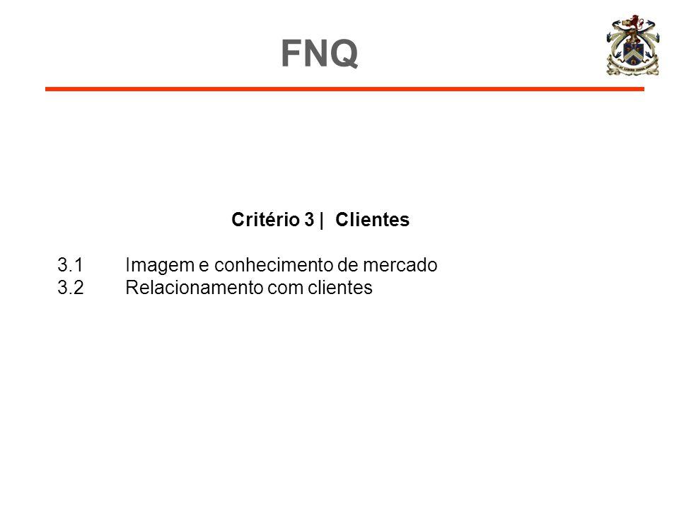 Critério 3 | Clientes 3.1Imagem e conhecimento de mercado 3.2Relacionamento com clientes FNQ