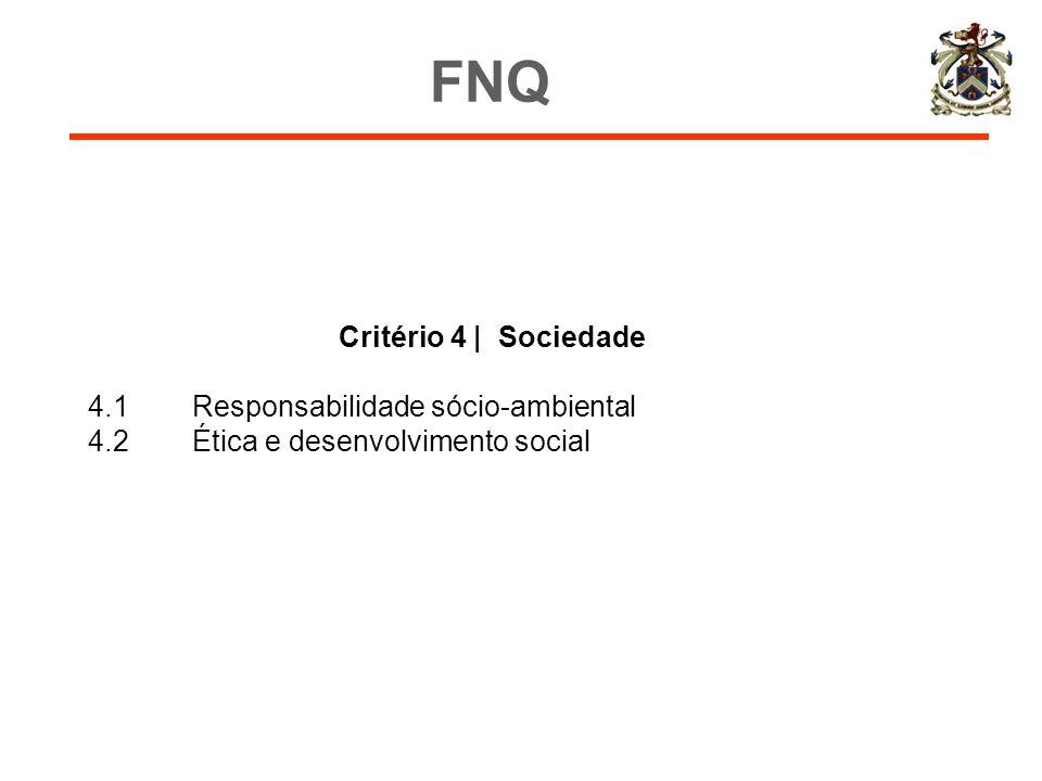 Critério 4 | Sociedade 4.1Responsabilidade sócio-ambiental 4.2Ética e desenvolvimento social FNQ
