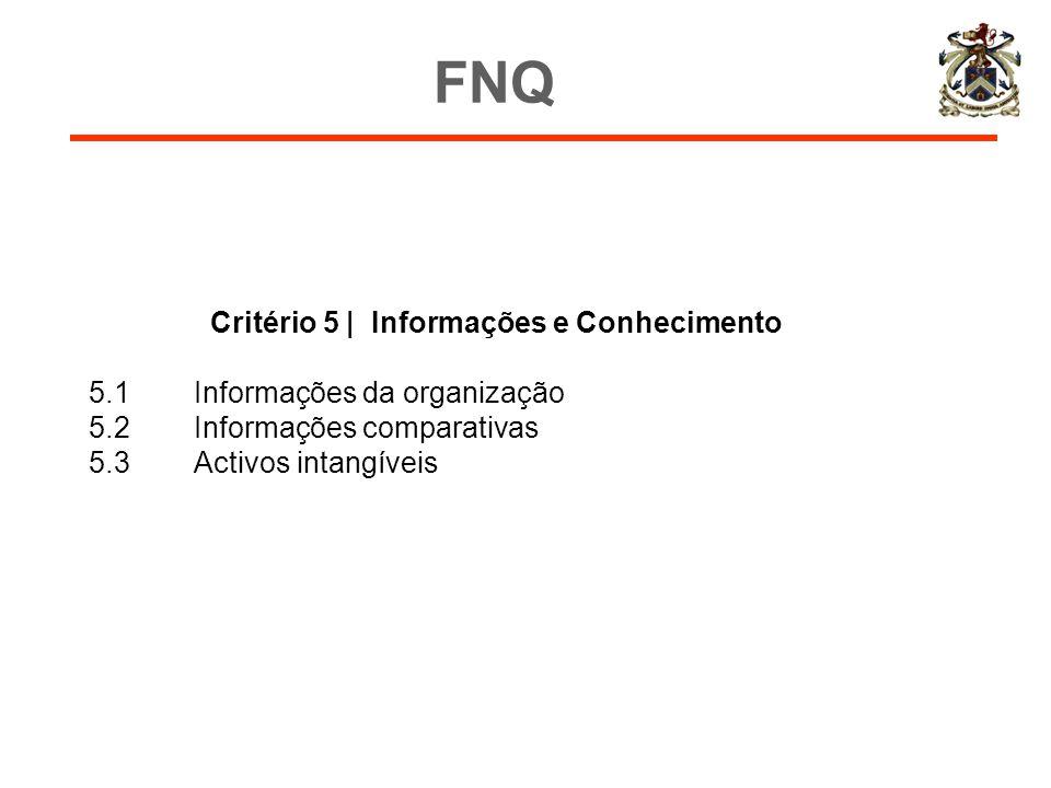 Critério 5 | Informações e Conhecimento 5.1Informações da organização 5.2Informações comparativas 5.3Activos intangíveis FNQ