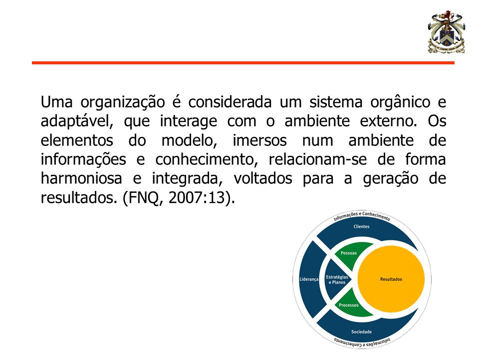 Uma organização é considerada um sistema orgânico e adaptável, que interage com o ambiente externo. Os elementos do modelo, imersos num ambiente de in