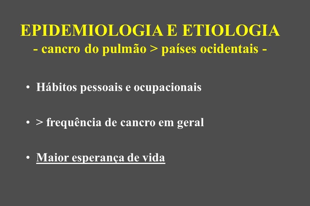 Hábitos pessoais e ocupacionais > frequência de cancro em geral Maior esperança de vida EPIDEMIOLOGIA E ETIOLOGIA - cancro do pulmão > países ocidentais -