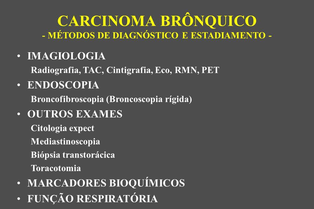 IMAGIOLOGIA Radiografia, TAC, Cintigrafia, Eco, RMN, PET ENDOSCOPIA Broncofibroscopia (Broncoscopia rígida) OUTROS EXAMES Citologia expect Mediastinoscopia Biópsia transtorácica Toracotomia MARCADORES BIOQUÍMICOS FUNÇÃO RESPIRATÓRIA CARCINOMA BRÔNQUICO - MÉTODOS DE DIAGNÓSTICO E ESTADIAMENTO -