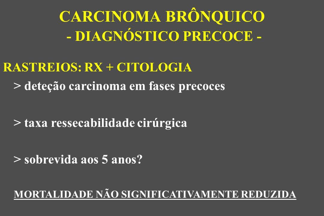 RASTREIOS: RX + CITOLOGIA > deteção carcinoma em fases precoces > taxa ressecabilidade cirúrgica > sobrevida aos 5 anos.