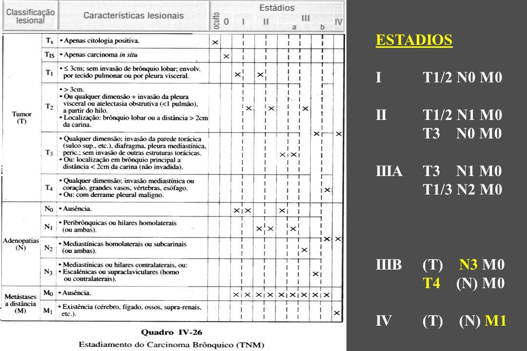 ESTADIOS IT1/2 N0 M0 IIT1/2 N1 M0 T3 N0 M0 IIIAT3 N1 M0 T1/3 N2 M0 IIIB(T) N3 M0 T4 (N) M0 IV(T) (N) M1