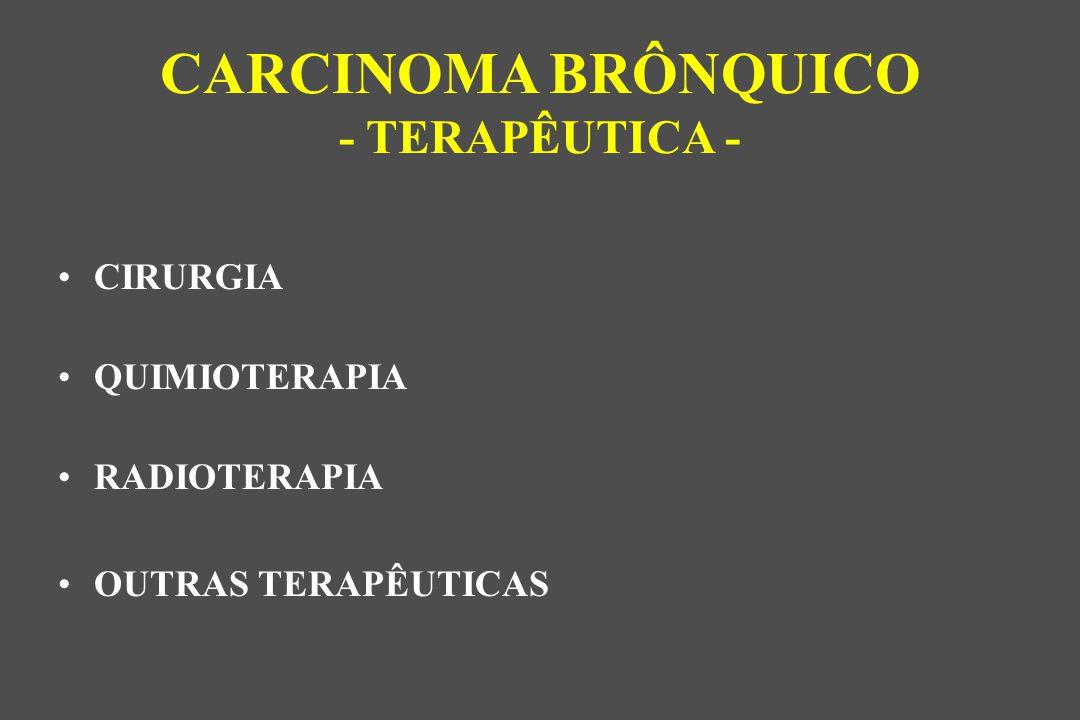 CIRURGIA QUIMIOTERAPIA RADIOTERAPIA OUTRAS TERAPÊUTICAS CARCINOMA BRÔNQUICO - TERAPÊUTICA -