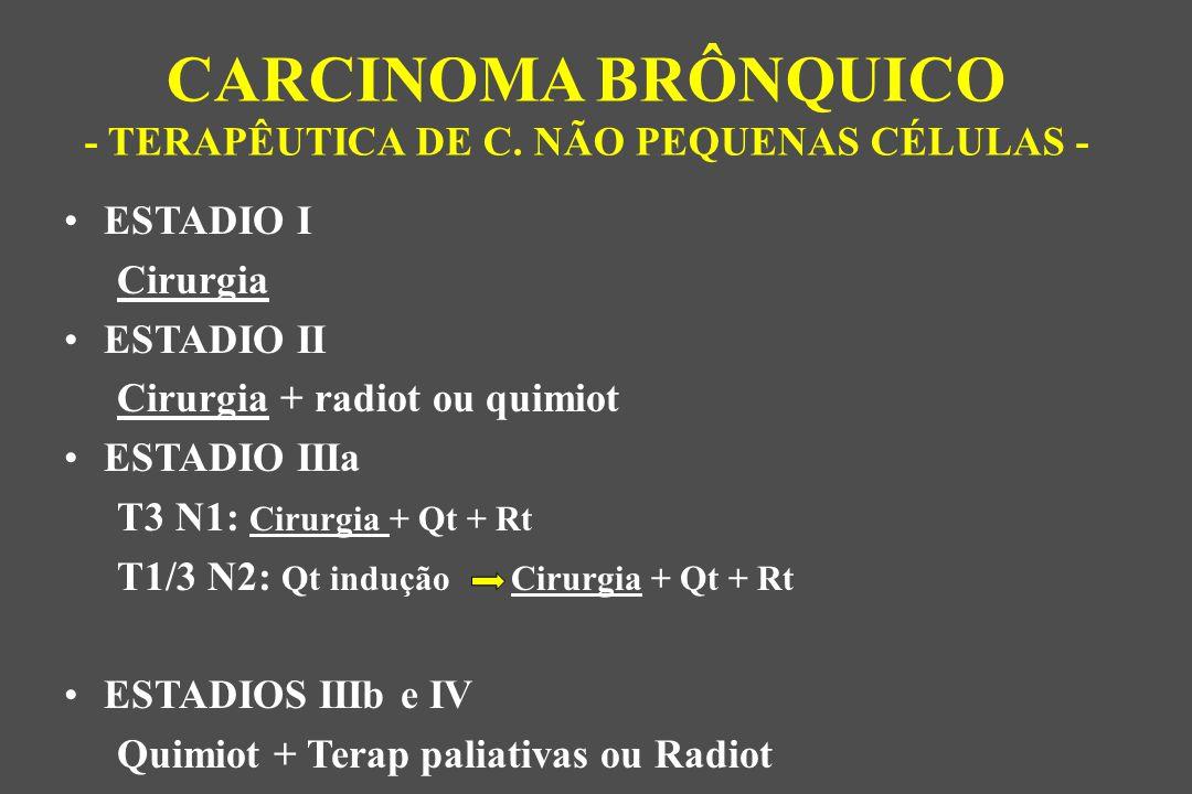 ESTADIO I Cirurgia ESTADIO II Cirurgia + radiot ou quimiot ESTADIO IIIa T3 N1: Cirurgia + Qt + Rt T1/3 N2: Qt indução Cirurgia + Qt + Rt ESTADIOS IIIb e IV Quimiot + Terap paliativas ou Radiot CARCINOMA BRÔNQUICO - TERAPÊUTICA DE C.