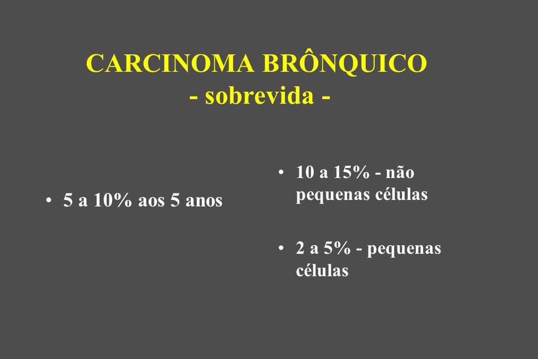 5 a 10% aos 5 anos 10 a 15% - não pequenas células 2 a 5% - pequenas células CARCINOMA BRÔNQUICO - sobrevida -