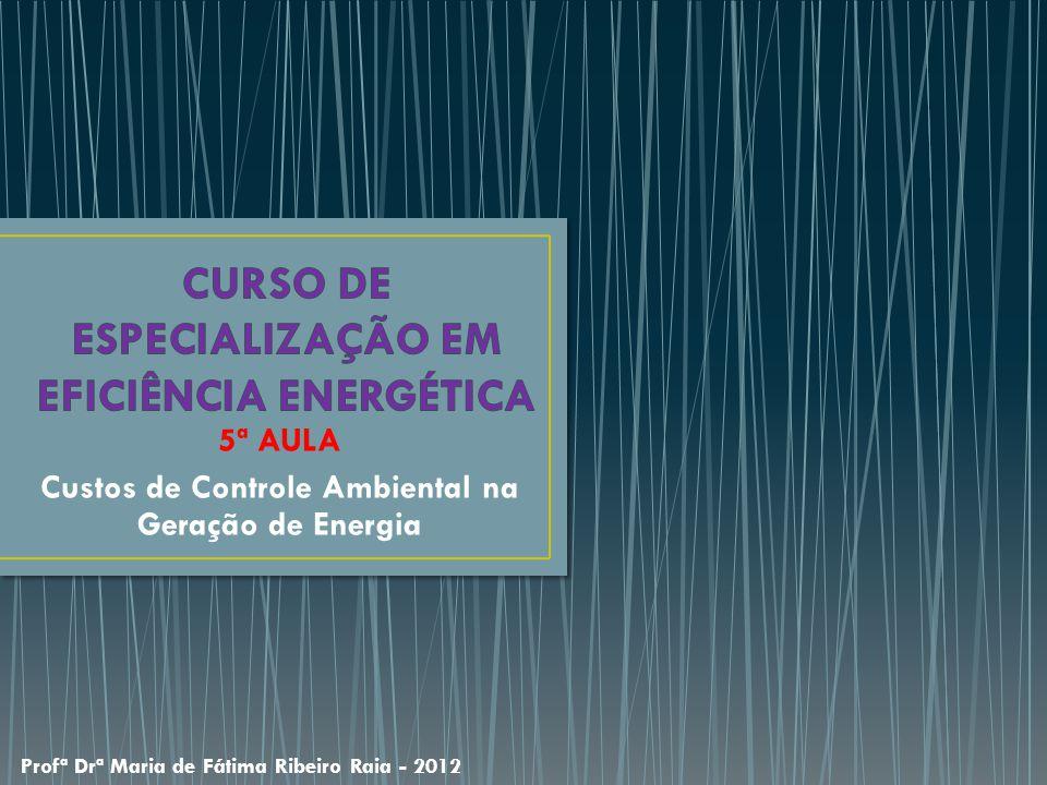 5ª AULA Custos de Controle Ambiental na Geração de Energia Profª Drª Maria de Fátima Ribeiro Raia - 2012