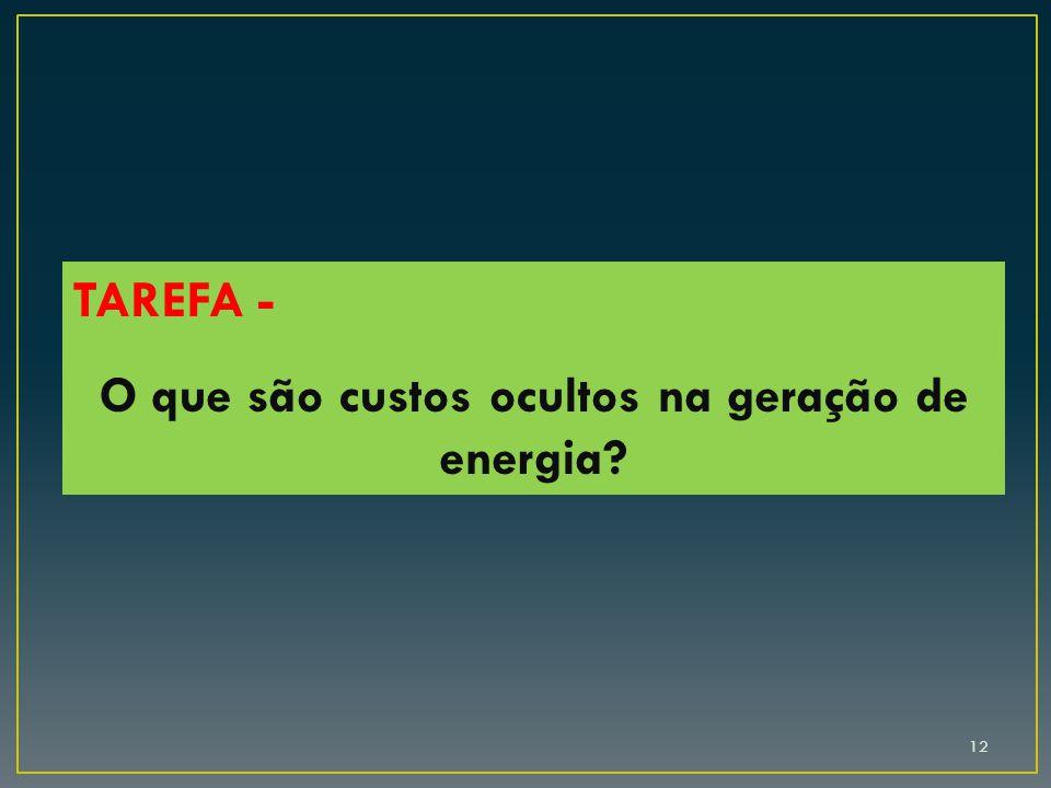 12 TAREFA - O que são custos ocultos na geração de energia?