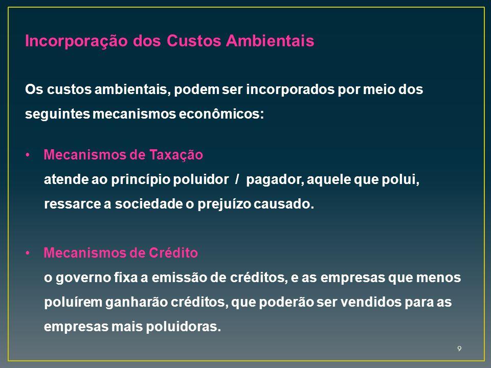 9 Incorporação dos Custos Ambientais Os custos ambientais, podem ser incorporados por meio dos seguintes mecanismos econômicos: Mecanismos de Taxação