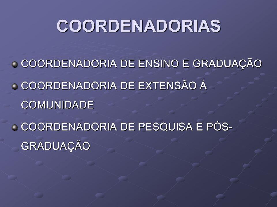 COORDENADORIAS COORDENADORIA DE ENSINO E GRADUAÇÃO COORDENADORIA DE EXTENSÃO À COMUNIDADE COORDENADORIA DE PESQUISA E PÓS- GRADUAÇÃO