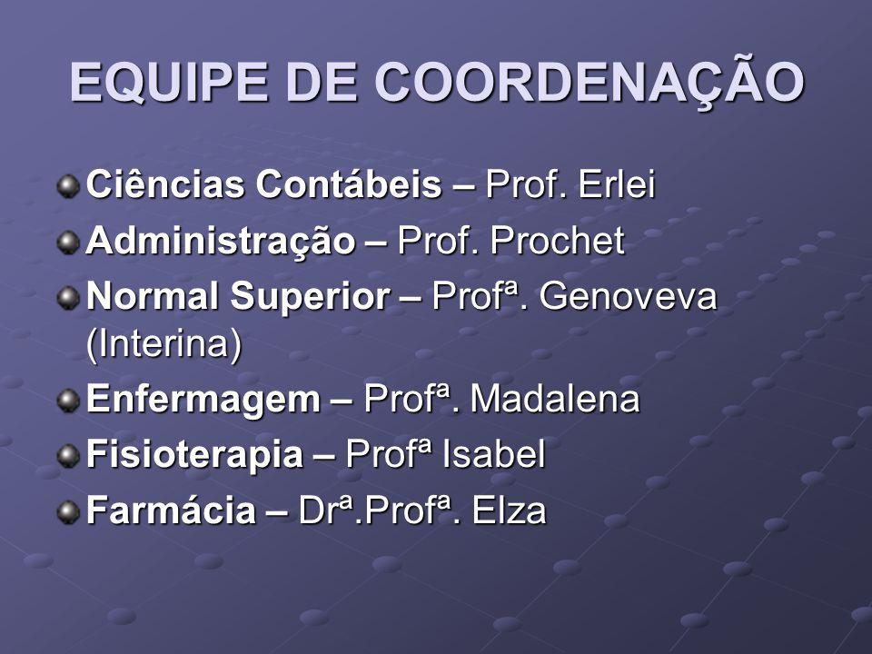 EQUIPE DE COORDENAÇÃO Ciências Contábeis – Prof. Erlei Administração – Prof. Prochet Normal Superior – Profª. Genoveva (Interina) Enfermagem – Profª.