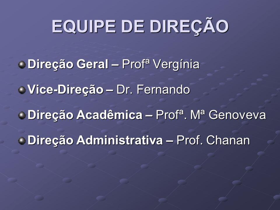EQUIPE DE DIREÇÃO Direção Geral – Profª Vergínia Vice-Direção – Dr.