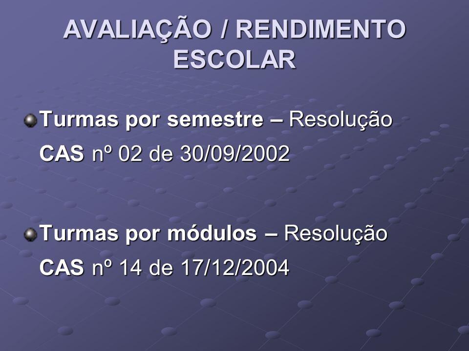 AVALIAÇÃO / RENDIMENTO ESCOLAR Turmas por semestre – Resolução CAS nº 02 de 30/09/2002 Turmas por módulos – Resolução CAS nº 14 de 17/12/2004