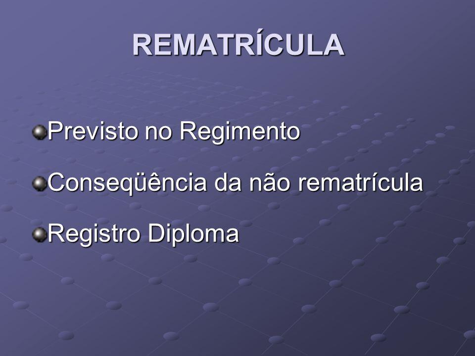 REMATRÍCULA Previsto no Regimento Conseqüência da não rematrícula Registro Diploma