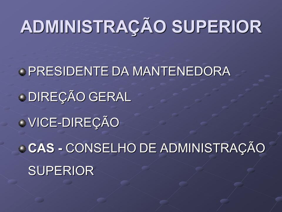 ADMINISTRAÇÃO SUPERIOR PRESIDENTE DA MANTENEDORA DIREÇÃO GERAL VICE-DIREÇÃO CAS - CONSELHO DE ADMINISTRAÇÃO SUPERIOR