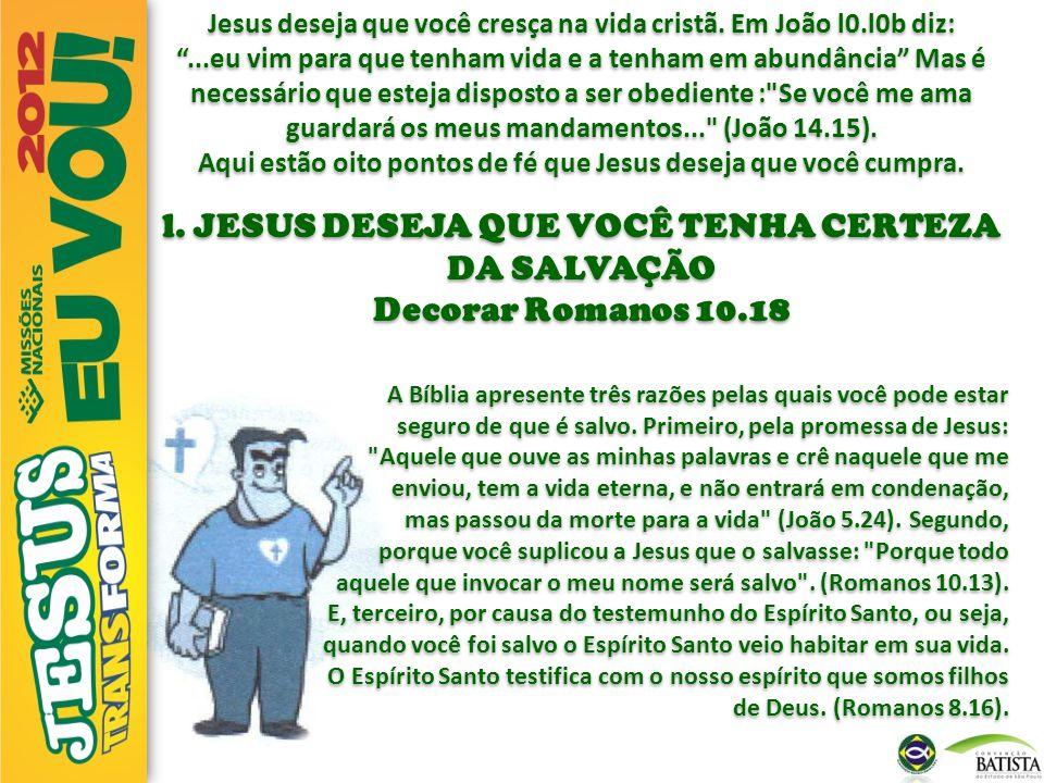 """Jesus deseja que você cresça na vida cristã. Em João l0.l0b diz: """"...eu vim para que tenham vida e a tenham em abundância"""" Mas é necessário que esteja"""