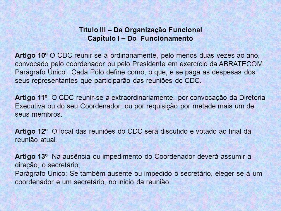 Título III – Da Organização Funcional Capítulo I – Do Funcionamento Artigo 10º O CDC reunir-se-á ordinariamente, pelo menos duas vezes ao ano, convocado pelo coordenador ou pelo Presidente em exercício da ABRATECOM.