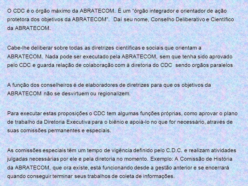 """O CDC é o órgão máximo da ABRATECOM. É um """"órgão integrador e orientador de ação protetora dos objetivos da ABRATECOM"""". Daí seu nome, Conselho Deliber"""