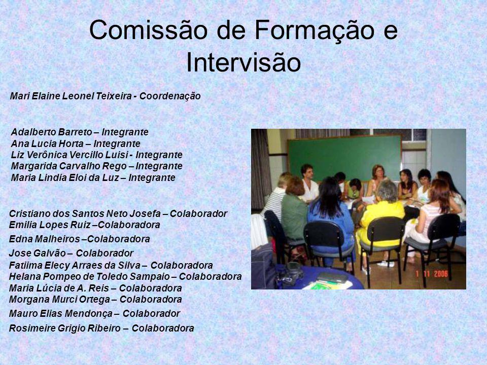 Comissão de Formação e Intervisão Mari Elaine Leonel Teixeira - Coordenação Cristiano dos Santos Neto Josefa – Colaborador Emilia Lopes Ruiz –Colabora