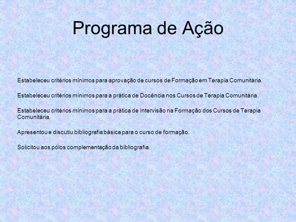 Programa de Ação Estabeleceu critérios mínimos para aprovação de cursos de Formação em Terapia Comunitária. Estabeleceu critérios mínimos para a práti