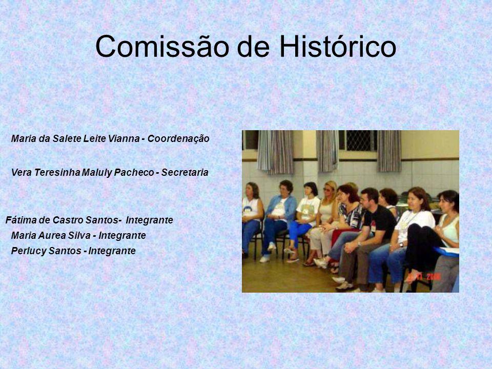 Comissão de Histórico Maria da Salete Leite Vianna - Coordenação Vera Teresinha Maluly Pacheco - Secretaria Fátima de Castro Santos- Integrante Maria Aurea Silva - Integrante Perlucy Santos - Integrante