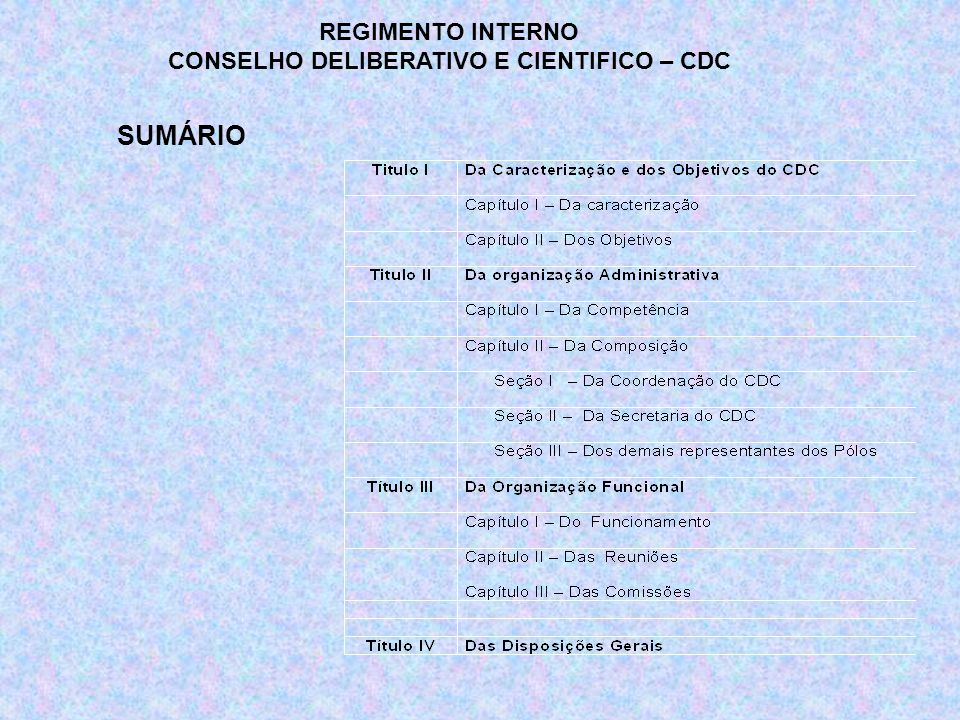 Estas comissões são constituídas pelos membros eleitos entre os representantes das regionais que as escolhem, segundo seus interesses em acordo com o Coordenador do Conselho.